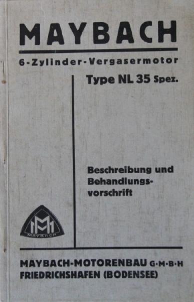 Maybach 6 Zylinder-Vergasermotor Type NL 35 Spezial 1935 Betriebsanleitung