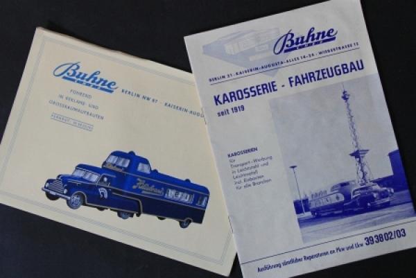 Buhne Karosseriebau Berlin 1958 zwei Werbe-Prospekte