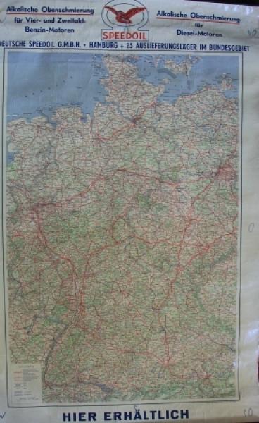 Speedoil Motoroel Werbe-Landkarte Deutschland 1950 0