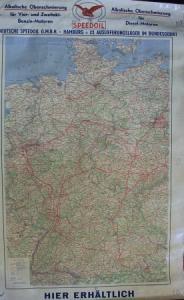 Speedoil Motoroel Werbe-Landkarte Deutschland 1950