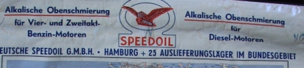 Speedoil Motoroel Werbe-Landkarte Deutschland 1950 1