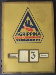 Agrippina Versicherungen Dauer-Werbekalender 1924 Glas-Messing
