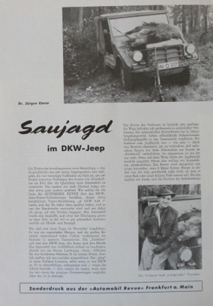 DKW Jeep 0,25 to. Geländewagen 1959 Automobilprospekt