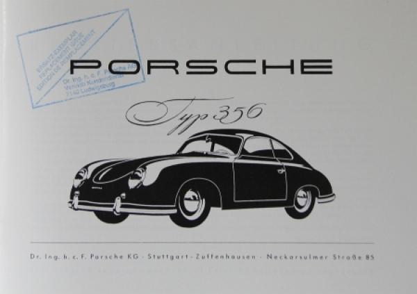 Porsche Typ 356 Betriebsanleitung 1952 1
