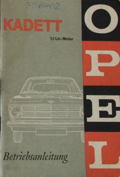 Opel Kadett 1,1 Liter 1967 Betriebsanleitung