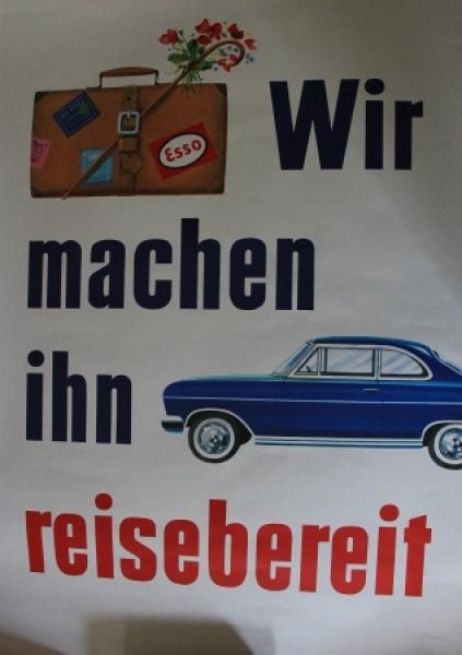 """Esso Werbeplakat """"Wir machen ihn reisebereit"""" Opelmotiv 1964"""