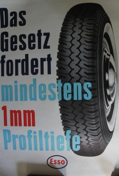 """Esso Werbeplakat """"Das Gesetz fordert..."""" Reifenmotiv 1964"""