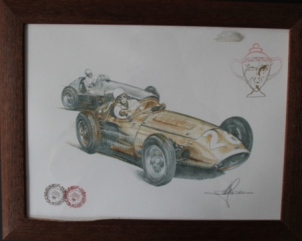 "Ferrari Grand Prix Monte Carlo 1955 ""Golden Heart Collection"" handgezeichnetes Motiv mit Signatur 2006"