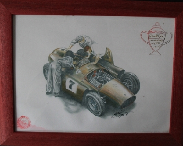 "Ferrari Grand Prix Monte Carlo 1956 ""Golden Heart Collection"" handgezeichnetes Motiv mit Signatur 2006"