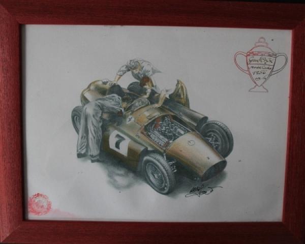 """Ferrari Grand Prix Monte Carlo 1956 """"Golden Heart Collection"""" handgezeichnetes Motiv mit Signatur 2006"""