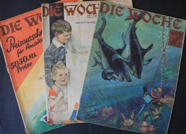 """""""Die Woche"""" Scherl-Gesellschafts-Magazin 1928 drei Ausgaben"""