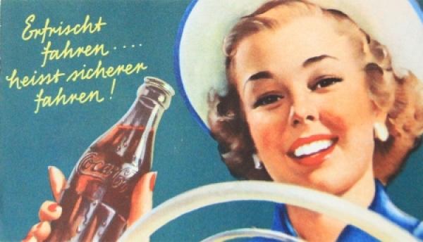 """Coca-Cola """"Erfirscht fahren... heisst sicher fahren"""" Werbeplakt 1952 Repro"""