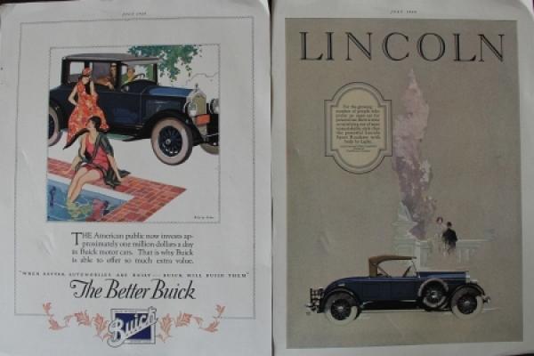 Lincoln - Buick zwei Werbeplakate 1926