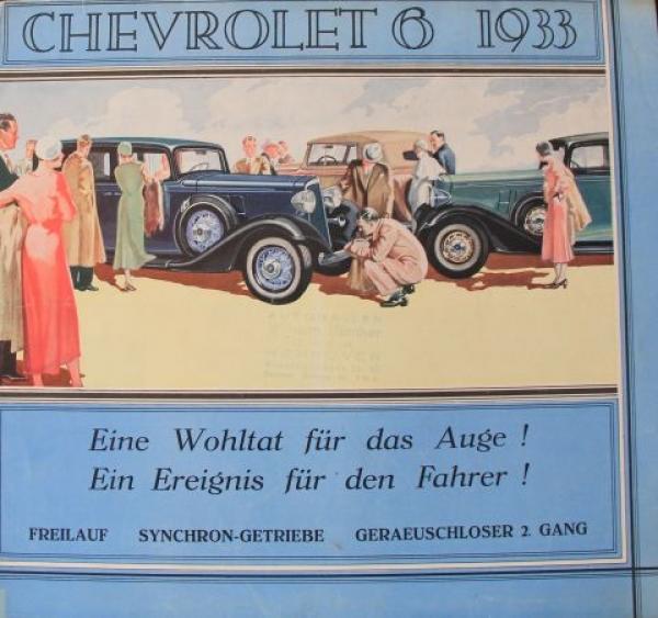 Chevrolet Six Modellprogramm 1933 Automobilprospekt
