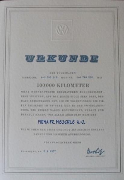 Volkswagen 100.000 KM Urkunde mit VW-Anschreiben und Mappe 1957