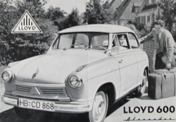 Lloyd 600 Alexander Automobilprospekt 1957