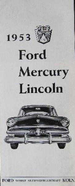 Ford Modellprogramm 1953 Automobilprospekt