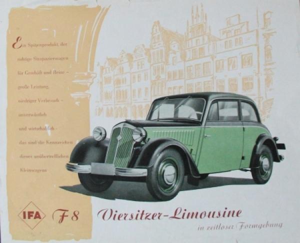 IFA F8 Viersitzer Limousine 1954 Automobilprospekt