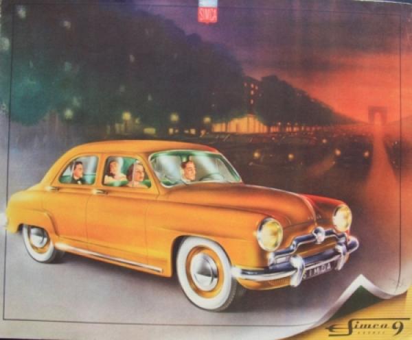 Simca Aronde 9 Modellprogramm 1953 Automobilprospekt