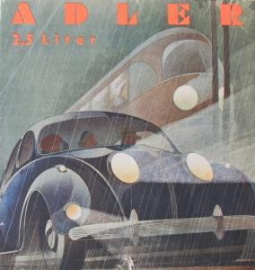 Adler 2,5 Liter Modellprogramm Reuters-Motive 1939 Automobilprospekt