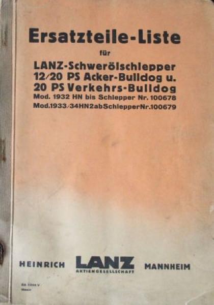 Lanz Bulldog 10/20 PS Acker-Schlepper 1935 Ersatzteillist