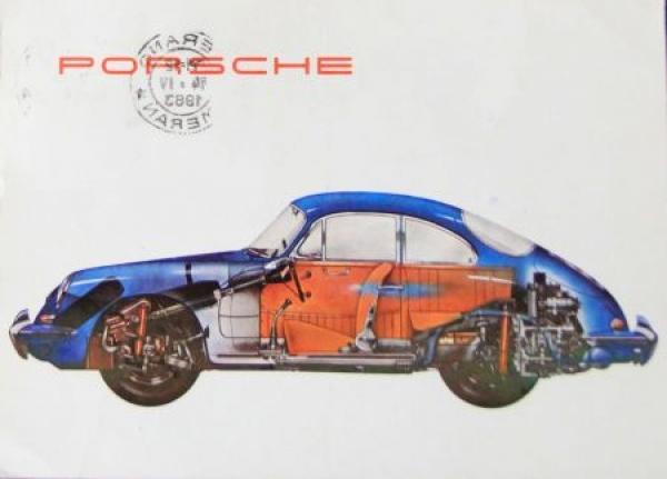Porsche 365 Werbe-Postkarte 1963 gestempelt