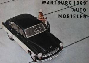Wartburg 1000 Automobielen Modellprogramm 1964 Automobilprospekt