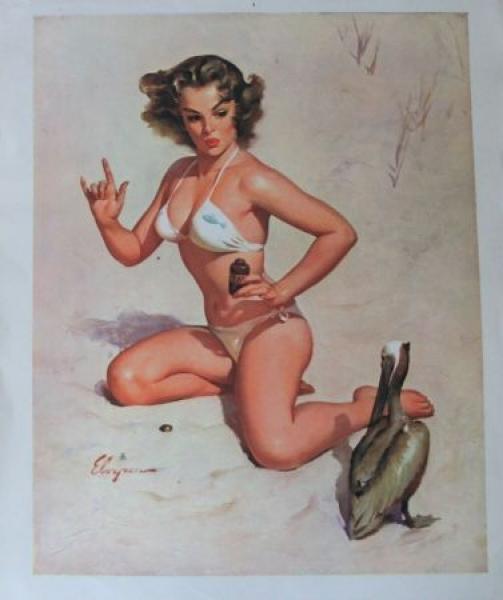 Gil Elgvren Pin-up Original-Kalenderblatt 1962