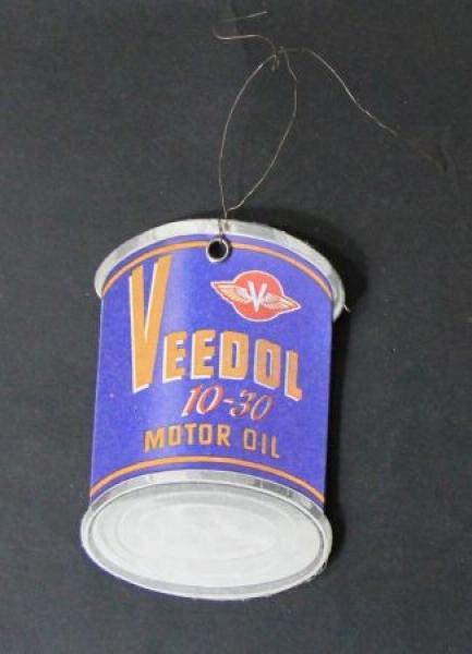 """Veedol Ölwechsel-Werbeanhänger """"Letzte Füllung Veedol 10-30 Motor Oil"""" 1953"""