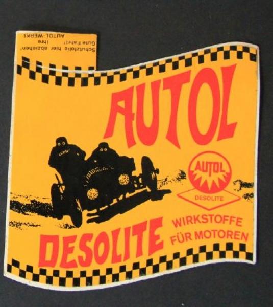 """Autol Werbe-Aufkleber """"Desolite Wirkstoffe für Motoren"""" 1965"""