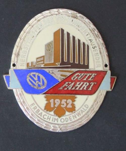 """Volkswagen """"Herbsttreffen der VW-Hunderttausender - Erbach"""" emaillierte Gute-Fahrt-Plakette 1952"""