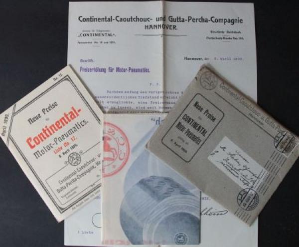 Continental Reifen Motor-Pneumatic Prospekt, Preisliste, Anschreiben 1909