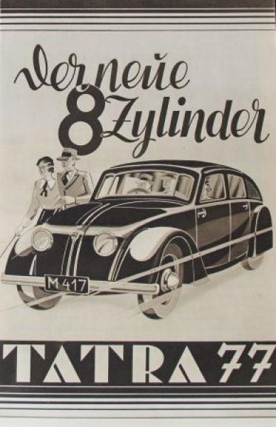 """Tatra 77 """"Der neue 8-Zylinder"""" 1934 Automobilprospekt"""