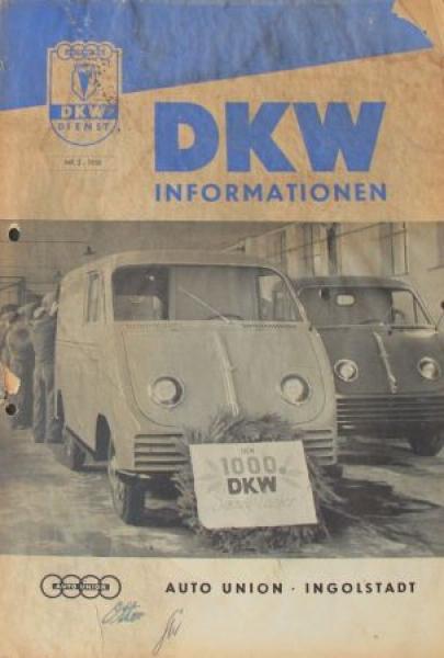 """""""DKW Information"""" Firmen-Magazin Auto-Union Ingolstadt 1950"""