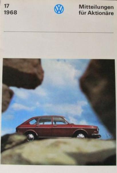 """Volkswagen """"Mitteilungen für Aktionäre"""" 1968 VW 411 Automobilprospekt"""