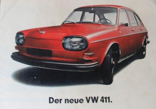 """Volkswagen """"Der neue 411"""" 1968 Automobilprospekt"""