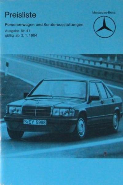 Mercedes Benz Personenwagen Preisliste 1984 Ausgabe 41
