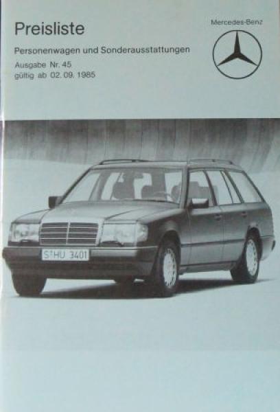 Mercedes Benz Personenwagen Preisliste 1985 Ausgabe 45