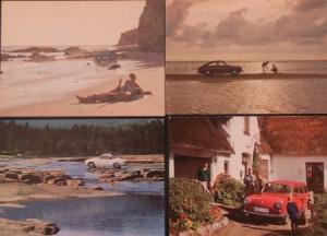 Volkswagen Käfer 1500 vier Werks-Postkarten 1965