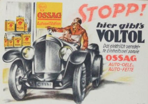 "Shell Ossag Voltol Werbe-Plakat ""Stopp hier gibt's Voltol"" 1926"