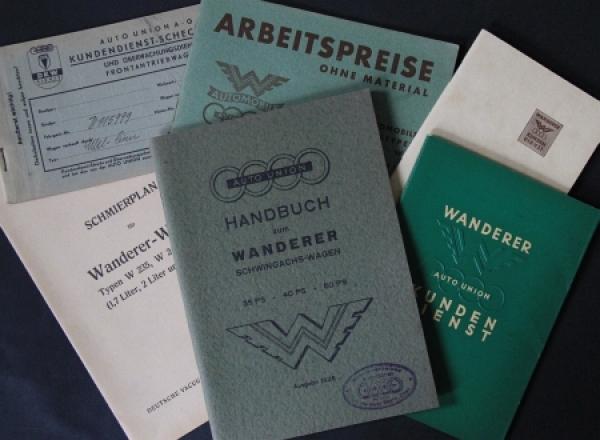 Wanderer Bordmappe mit Betriebsanleitung und div. Papieren 1935