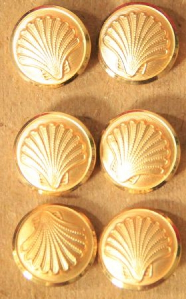 Shell Tankstellen-Uniformknöpfe Gold mit Logo 1958
