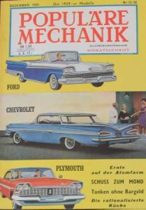"""Populäre Mechanik"" Chevrolet Modelle 1958 Technik-Magazin"