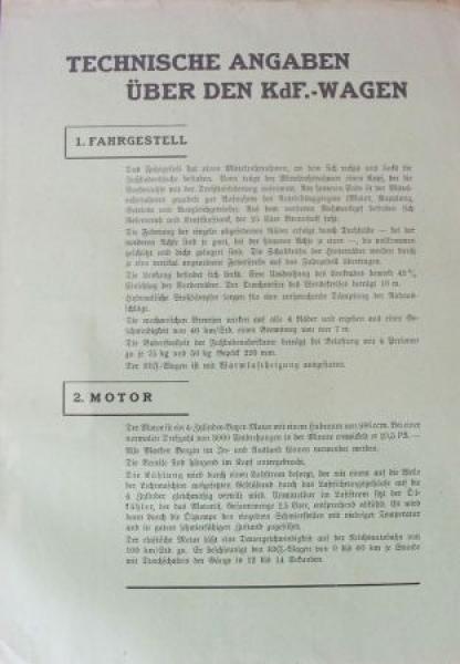 "Volkswagen KdF ""Technische Angaben"" 1938 Automobilprospekt"