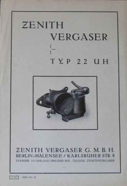 Zenith Vergaser Typ 22 UH 1929 Zubehörprospekt