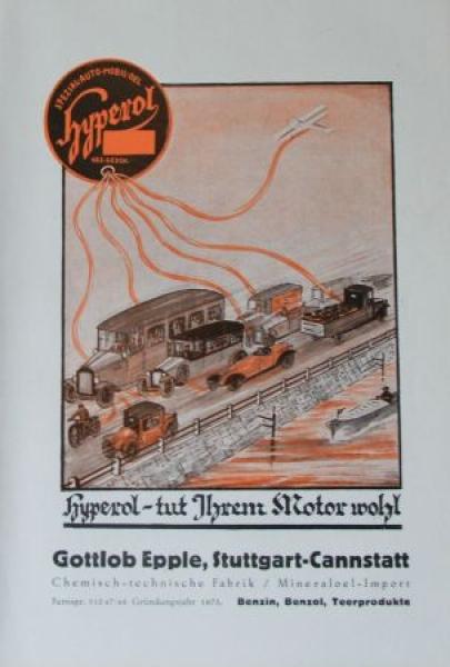 Hyperol Epple Mineraloel 1929 Tankstellen-Prospekt