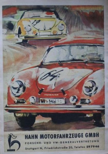 """Porsche 356 Rennplakat """"Hahn Motorfahrzeuge"""" 1963"""