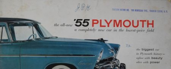 """Plymouth Modellprogramm """"The biggest car in Plymouth history"""" 1955 Automobilprospekt"""