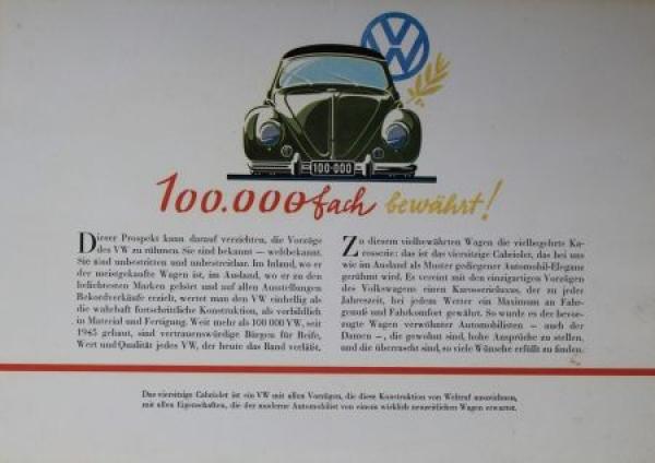 Volkswagen Käfer Cabriolet 1952 Reuters-Motive Automobilprospekt 1