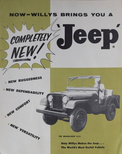 Willys Jeep Modellprogramm 1955 zwei Automobilprospekte